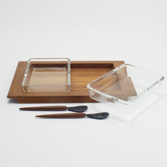 Schalen-Set Teak mit 2 Glasschalen Danish  home of vintage