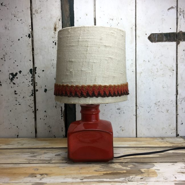 70er Retro Lampe Rot Keramik Tischlampe  home of vintage