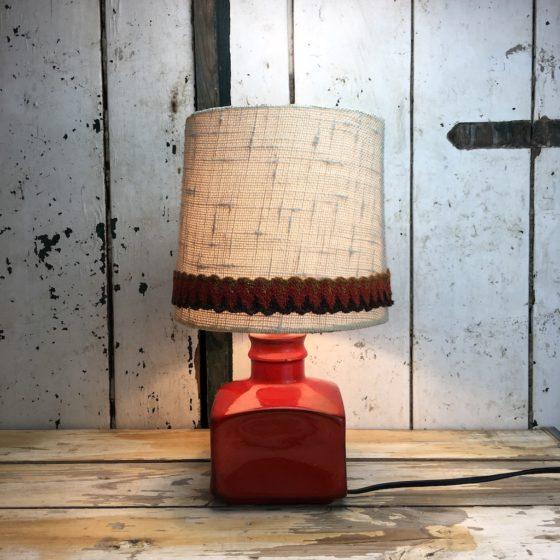 70er Retro Lampe Rot Keramik Vintage