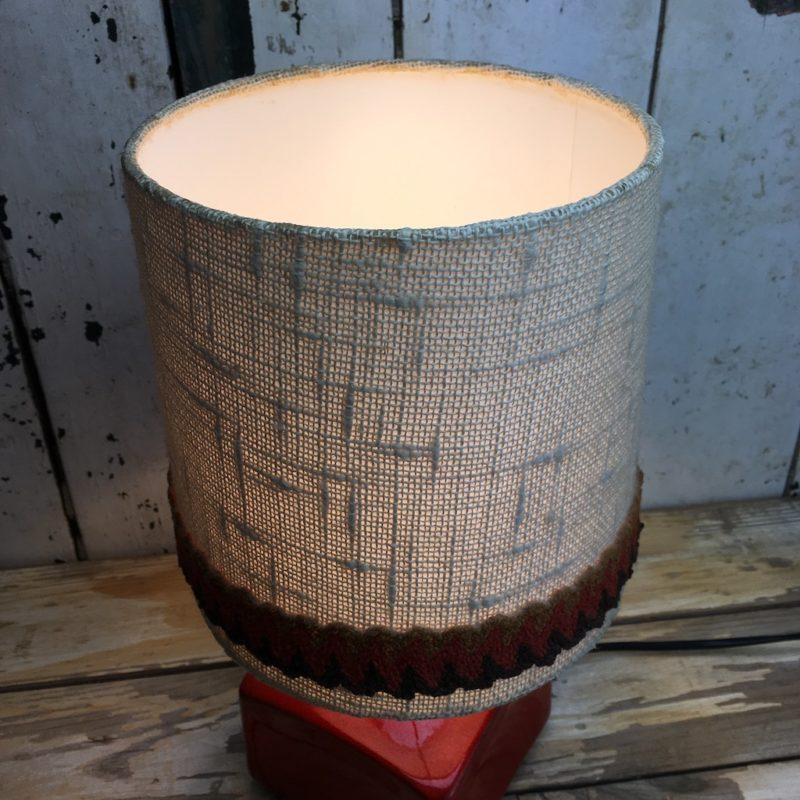70er Retro Lampe Rot Keramik 4 Leinenschirm