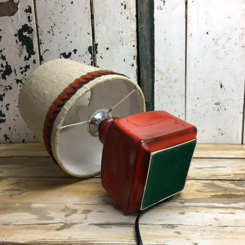 70er Retro Lampe Rot Keramik 8