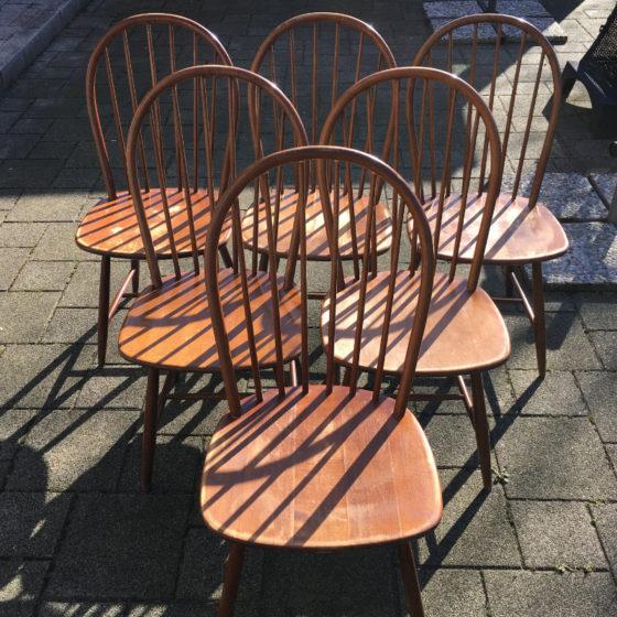 Stuhl Windsor Rundlehne Midcentury 6 Stück