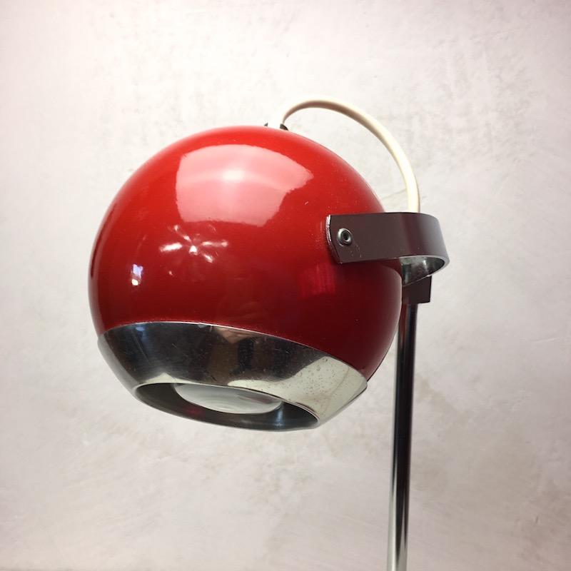 Space Age Schreibtischlampe Rot Kugellampe Kopf 3