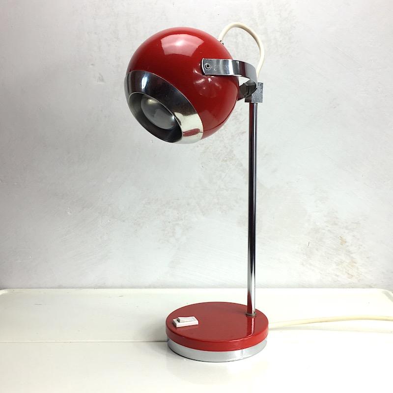 Space Age Schreibtischlampe Rot Kugellampe komplett