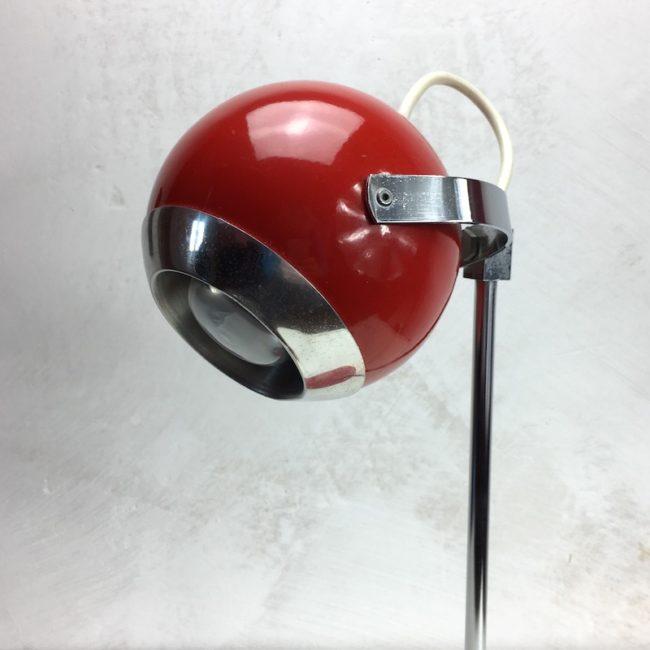 Schreibtischlampe Kugellampe Rot Chrom 70er Jahre  home of vintage