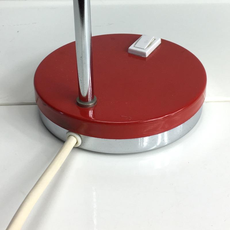 Space Age Schreibtischlampe Rot Kugellampe Wippschalter