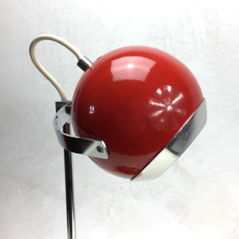 Space Age Schreibtischlampe Rot Kugellampe Kopf 2