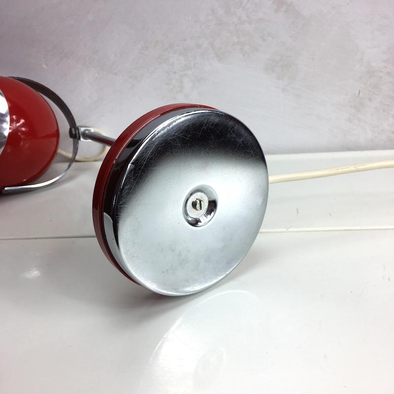 Space Age Schreibtischlampe Rot Kugellampe Fuss unten