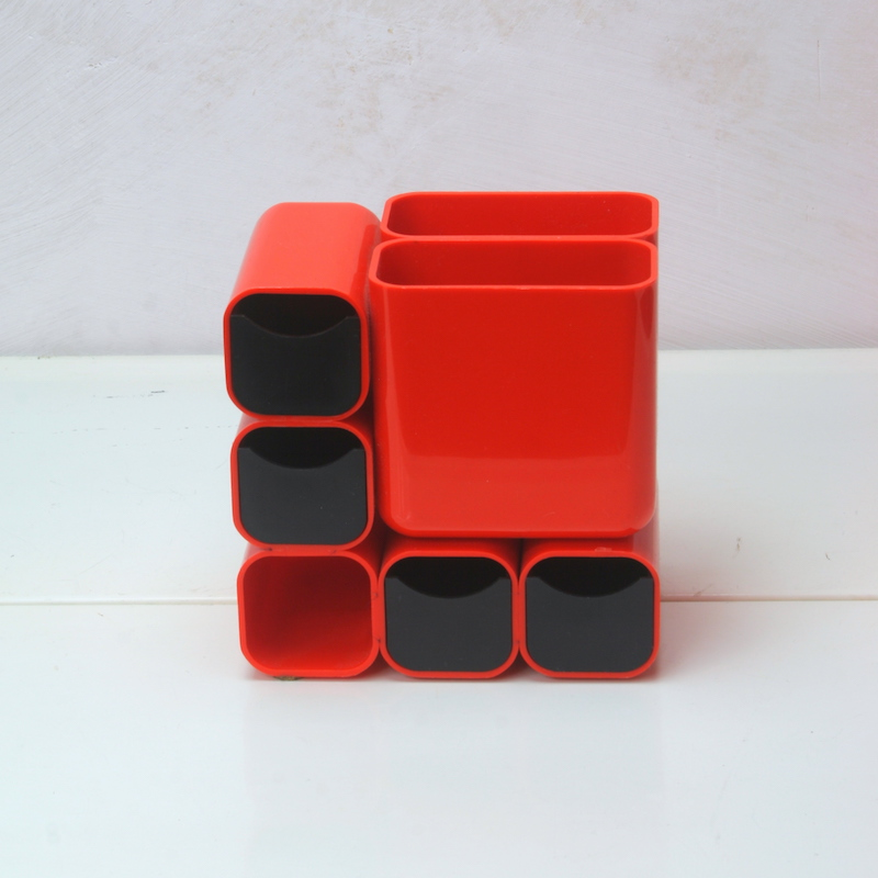Space Age Organizer Orange 70er Jahre Original vorn