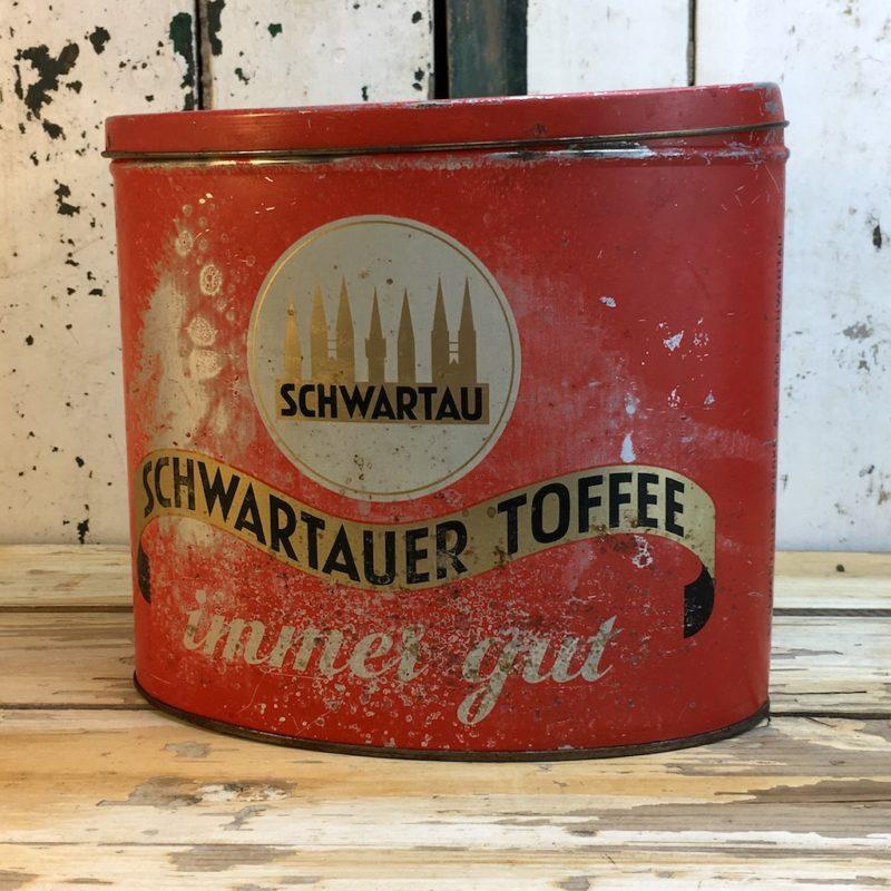 Antike Schwartau Toffee Blechdose rot 3