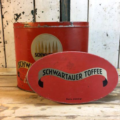 Antike Schwartau Toffee Blechdose rot 4