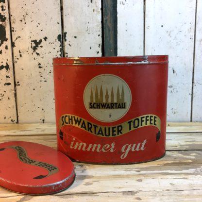 Antike Schwartau Toffee Blechdose rot mit Deckel