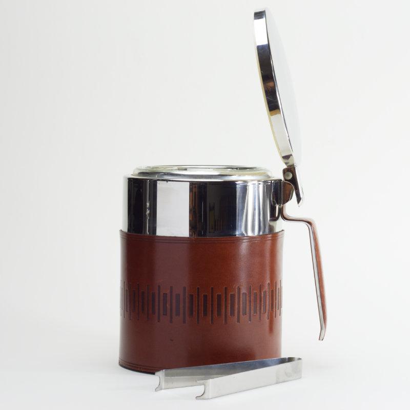 Eiskübel Leder Eiseimer Cocktail Zange offen