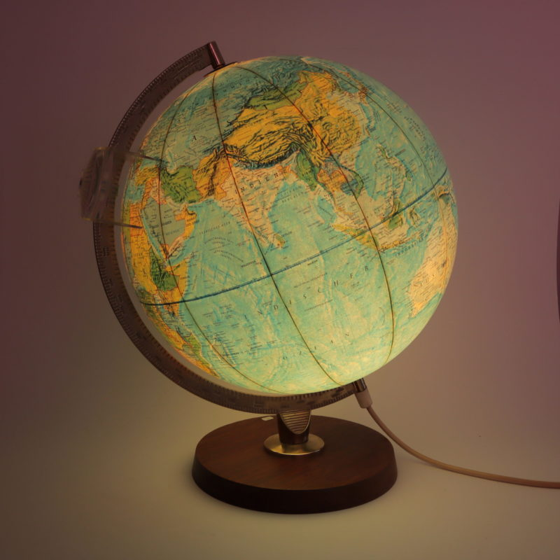 Leuchtglobus Scan-Globe Dänemark 1970 30 cm Mid Century beleuchtet