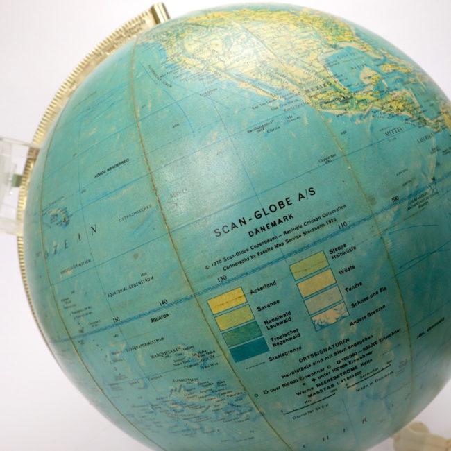 1970 Scan-Globe A/S Dänemark 30cm Mid Century Leuchtglobus  home of vintage