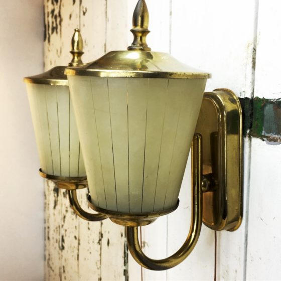 Wandleuchten Paar 50er Jahre Glas Messing Rockabilly wandlampe