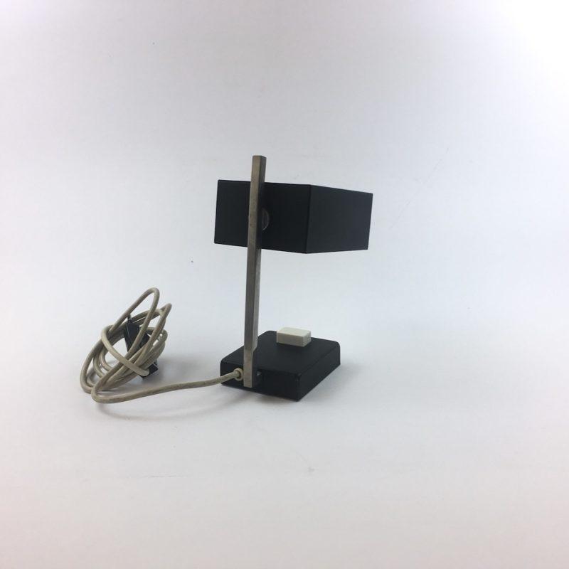 Kleine Tischlampe 60er Midcentury schwarz hinten
