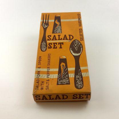Salat Besteck Gabel Löffel Salz Pfeffer Hartholz Mid Century