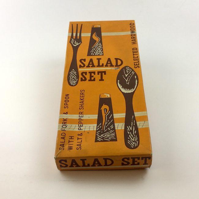 Vintage Mid Century Hartholz Salat Gabel und Löffel Besteck Salz Pfeffer  home of vintage