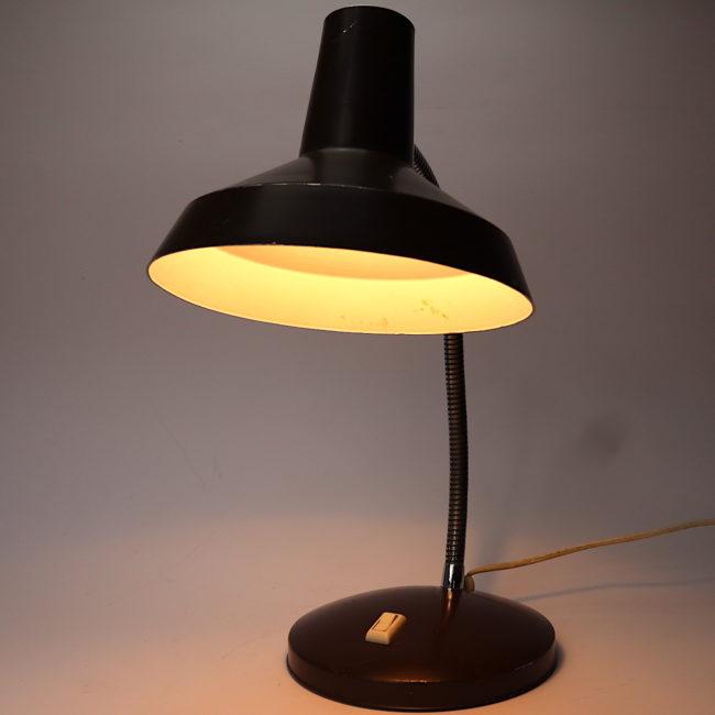 Tischleuchte Schwanenhals Schreibtischlampe braun  home of vintage