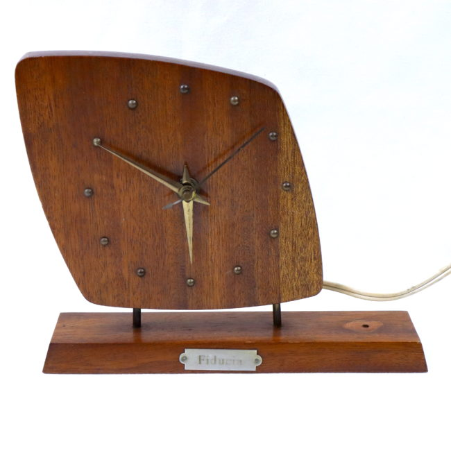 Elektrische Tischuhr Kaminuhr NUFA 220V Mid Century in Teak  home of vintage